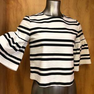 Zara striped crop top black white Bell sleeves S